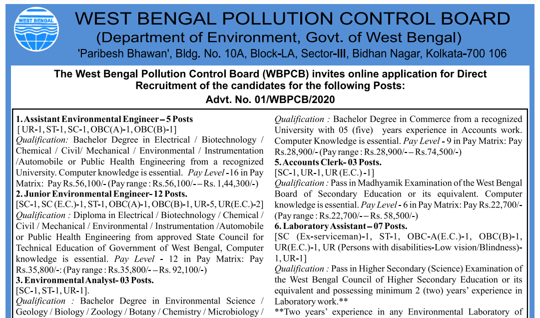 latest government vacancies in West Bengal Pollution Control Board, 10th pass govt vacancy, 12th pass and BTech Graduate Jobs in West Bengal