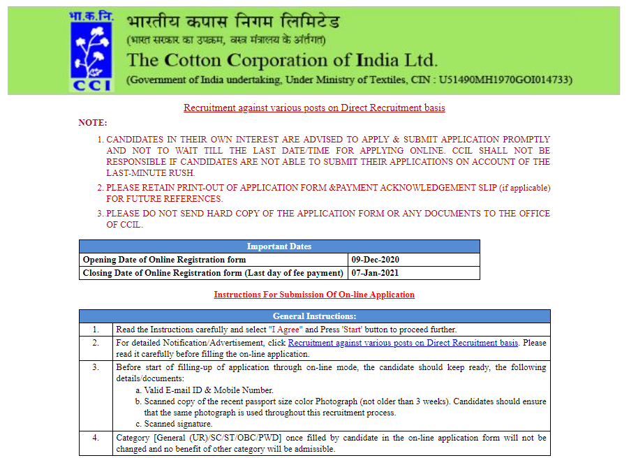 latest government vacancies in COTTON CORPORATION OF INDIA LTD, Govt Job for MBA, BSc govt vacancy, govt job for Bcom
