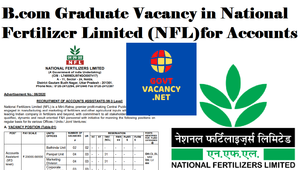 latest government vacancies for B.com Graduates in All India Bases, Govt Vacancy in National Fertilizer Limited for Assistant Accountant Recruitment 2021