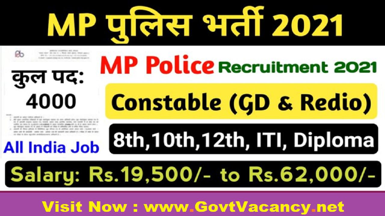 latest government vacancies in Madhya Pradesh, MP Police Constable Vacancy for 10th and 12th pass