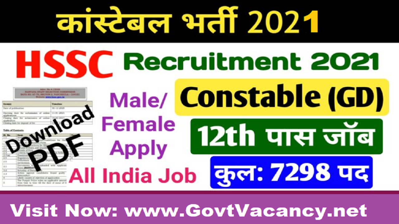 Latest Government Vacancies in Haryana, Haryana Police Vacancy for 10th pass, Haryana Police Constable Vacancy for 12th pass, Haryana Police Job in 2021, Haryana Staff Selection Commission (HSSC)