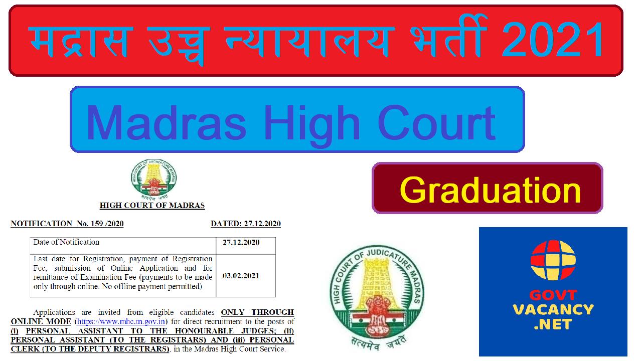 Madras High Court Vacancy for Clerk