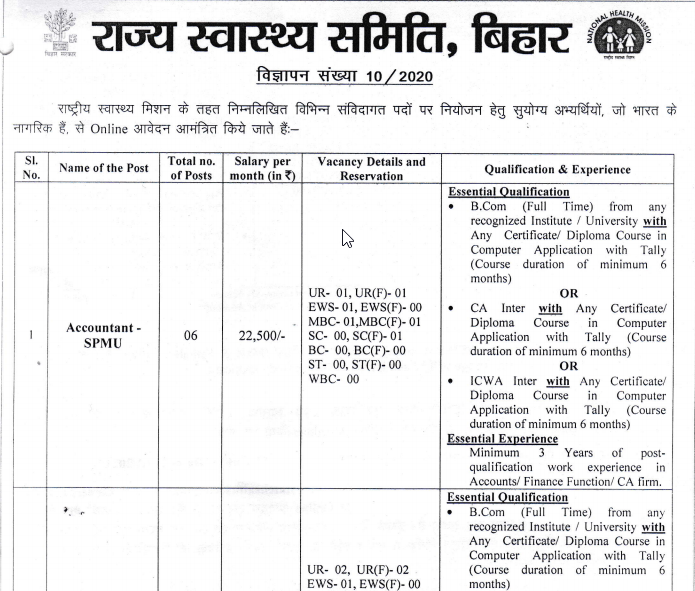 Latest Government Vacancies in Bihar, BCom pass Govt Vacancy in Bihar, Govt Job for CA in Bihar, Accountant Job in Bihar, National Health Mission Vacancy in Bihar for Graduates.