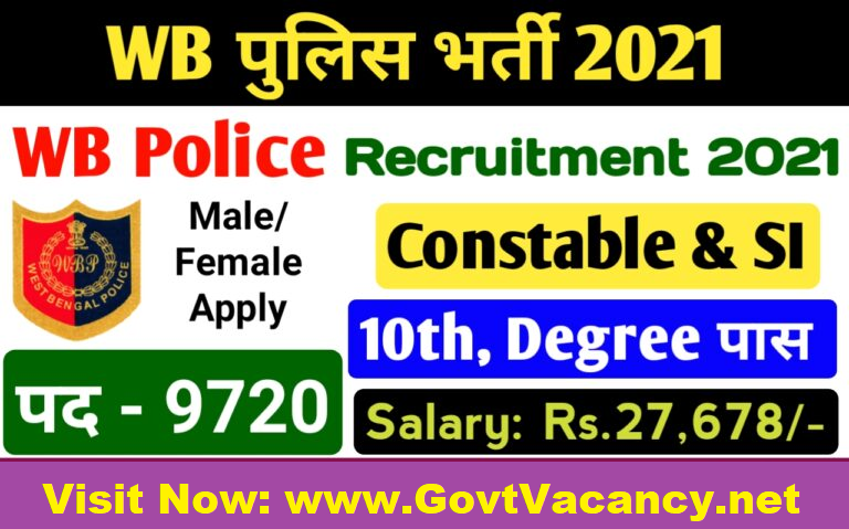 latest government vacancies in West Bengal Police for Constable and Sub Inspector Post, Govt Vacancy in West Bengal for 10th pass and Graduates