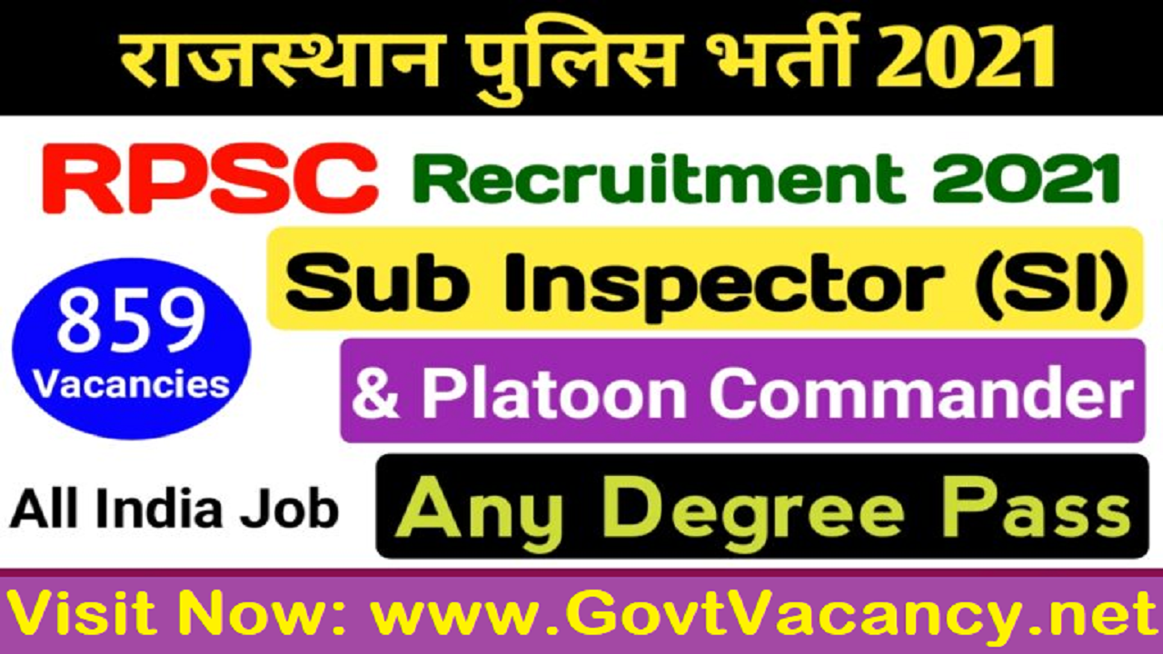 latest government vacancies in Rajasthan for Sub Inspector SI, Rajasthan Police Vacancy