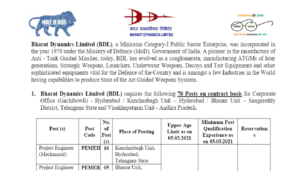 latest government vacancies in Andhra Pradesh and Telangana, Govt Vacancy for BTech Engineers in Bharat Dynamics Limited (BDL)
