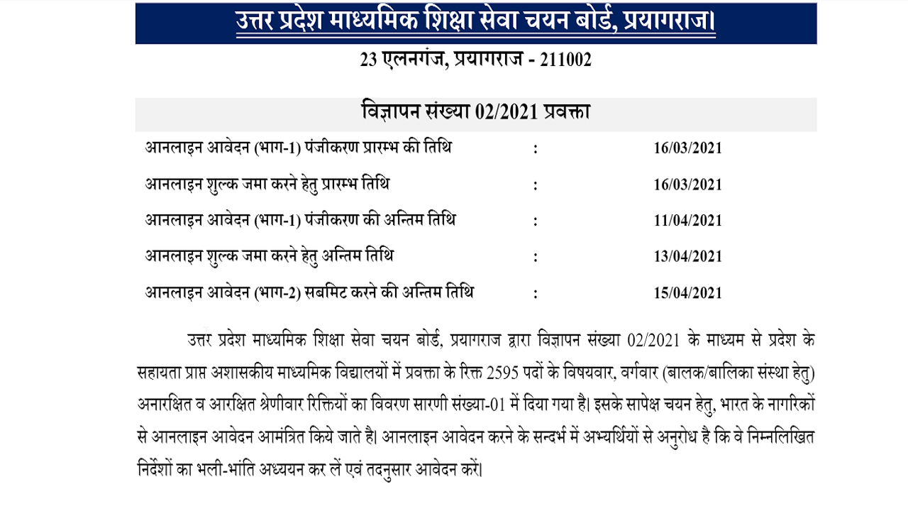 latest government vacancies in Uttar Pradesh Secondary Education Service Selection Board, Govt Vacancy for B.ed, and Post Graduate Candidates