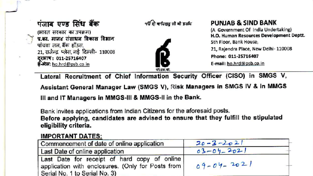 latest government vacancies in Bank, Govt Vacancy for Graduates, Govt Jobs in Punjab and Sindh Bank