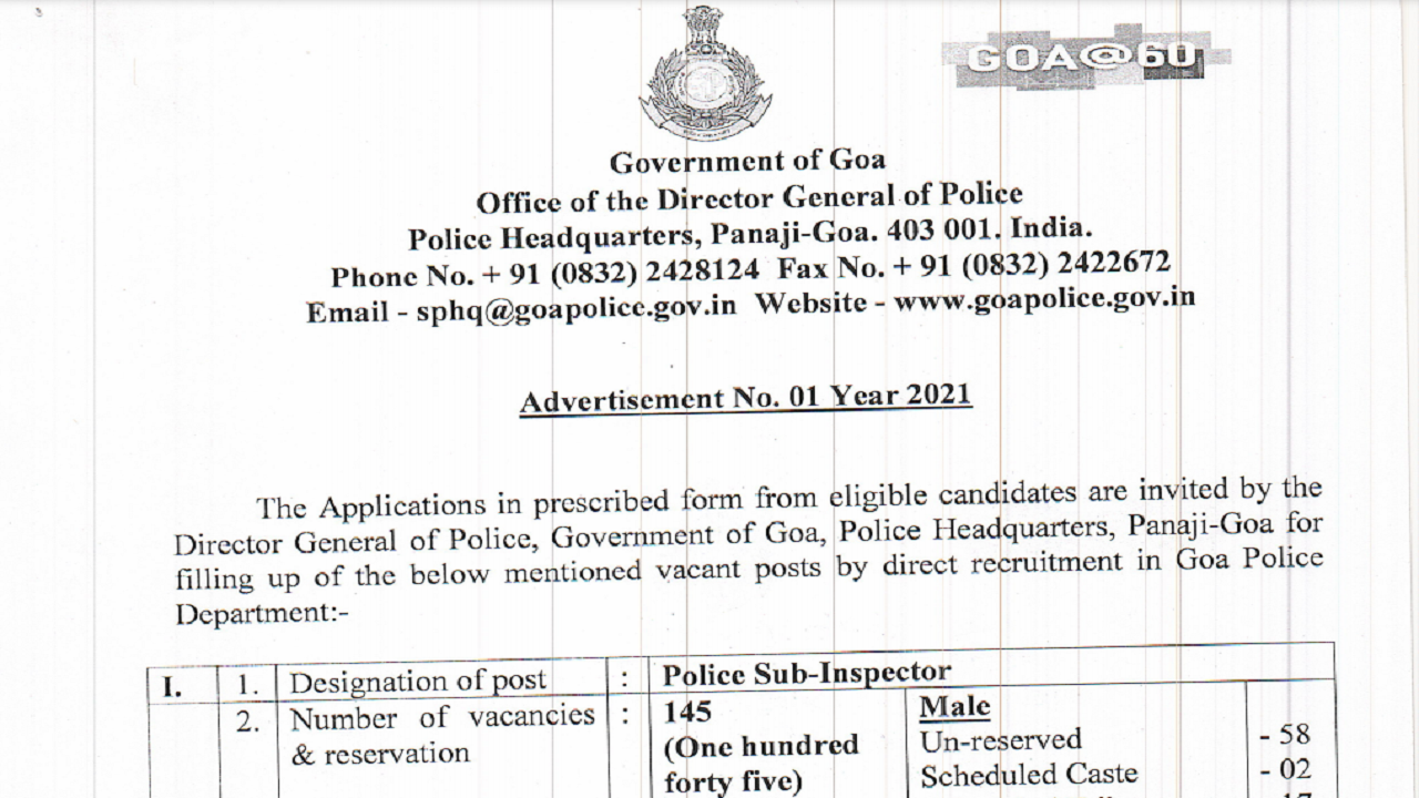 latest government vacancies in Goa, Govt Vacancy for 10th pass, 12th pass, and ITI pass candidates, Govt Jobs in Goa Police