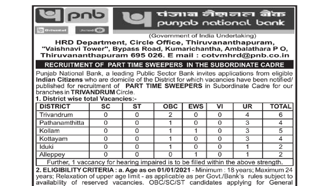 latest government vacancies in PNB for Sweeper Post