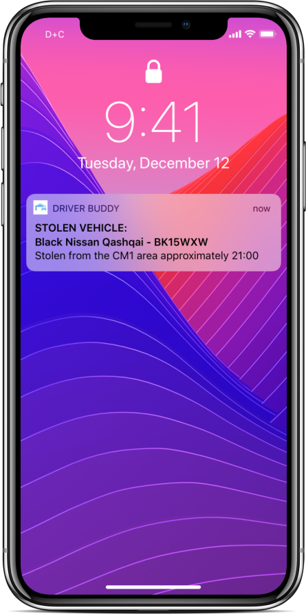 Driver Buddy iPhone stolen vehicle notication