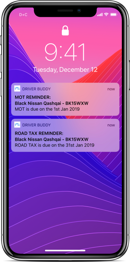 Driver Buddy iPhone alert and reminder notications