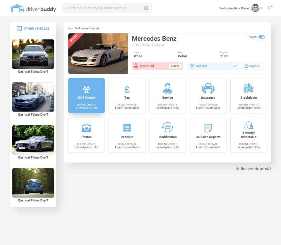 DriverBuddy Vehicle Dashboard