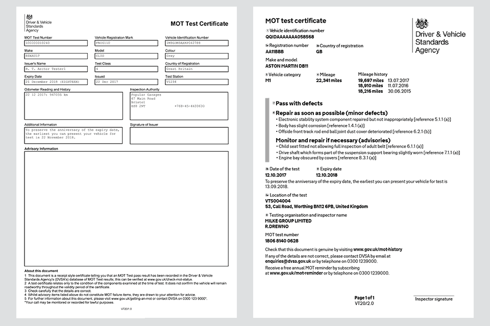 MOT certificate old (pre May 2018) and new