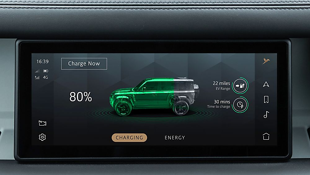 Land Rover Defender PHEV remote app with charging status