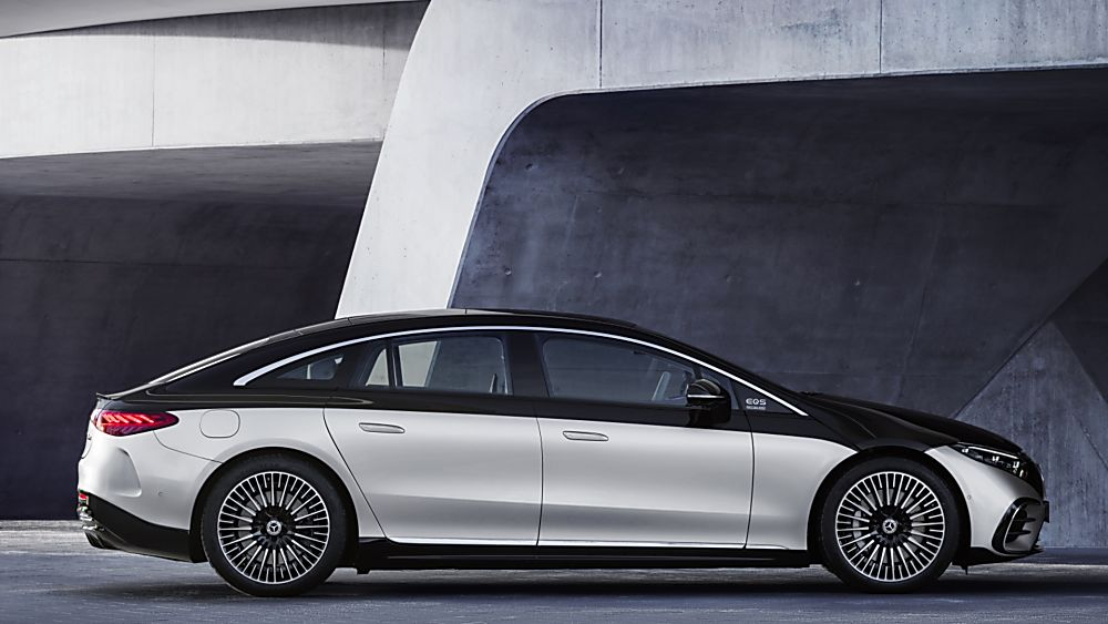 MERCEDES-BENZ:  EQS luxury EV saloon breaks cover - Hero Side