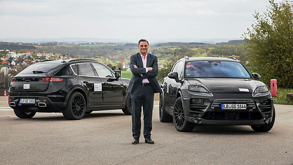 PORSCHE: All-electric Macan previewed in development 'mule' guise Hero Front and Rear