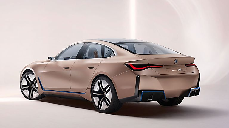 BMW:  First images of all-new i4 EV saloon revealed Rear Side
