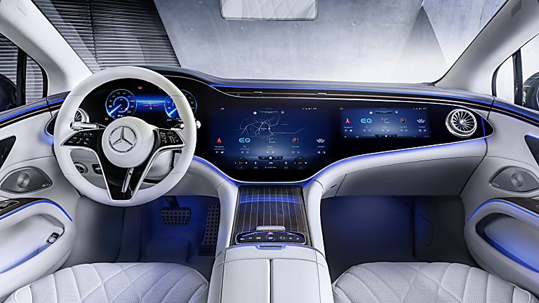 MERCEDES-BENZ:  EQS luxury EV saloon breaks cover - Interior Front