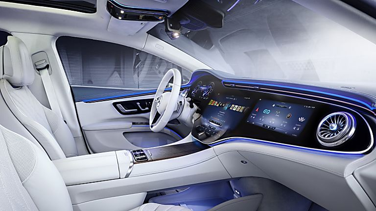 MERCEDES-BENZ:  EQS luxury EV saloon breaks cover - Interior Front Side