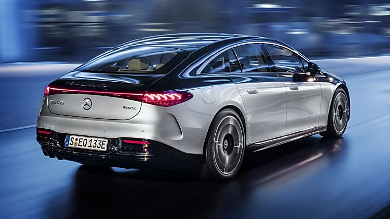 MERCEDES-BENZ:  EQS luxury EV saloon breaks cover - Hero Rear Side
