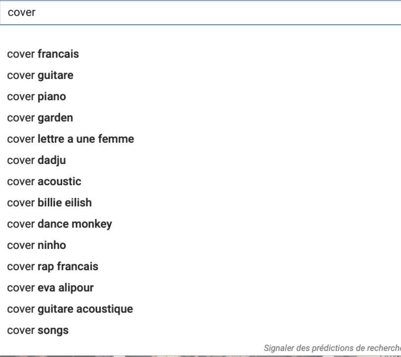 barre recherche keywords mot clé youtube musicien