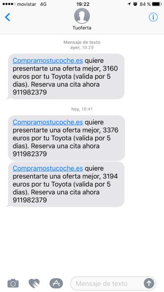 Últimos SMS recibidos