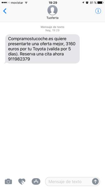 Primer SMS recibido