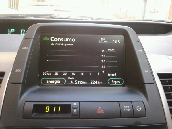 Consumption example on a Prius 2G