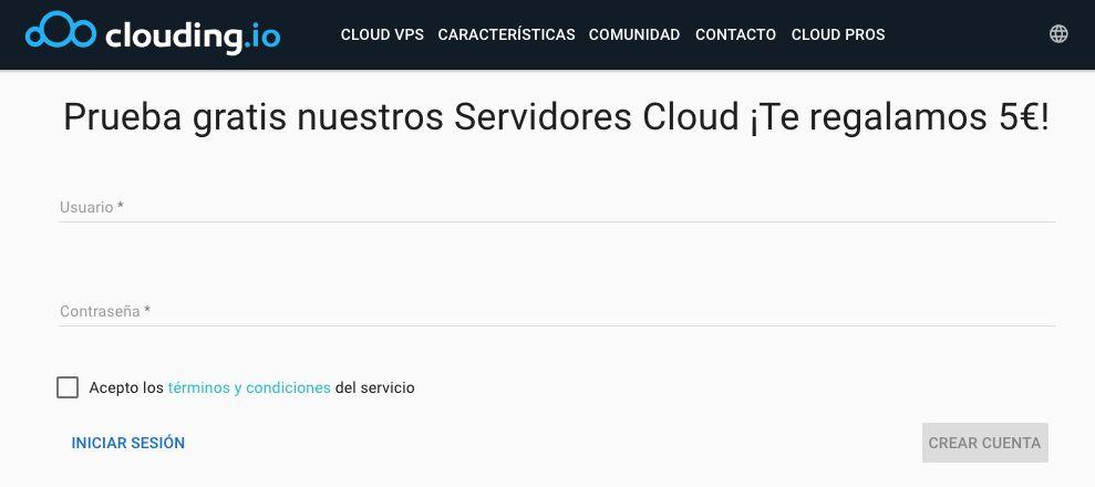 Captura de la página de alta de Clouding.io