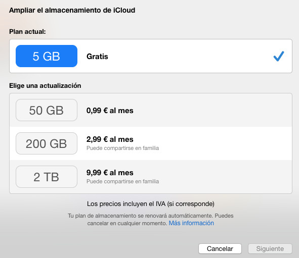 iCloud screenshot using the free plan and the upgrade options