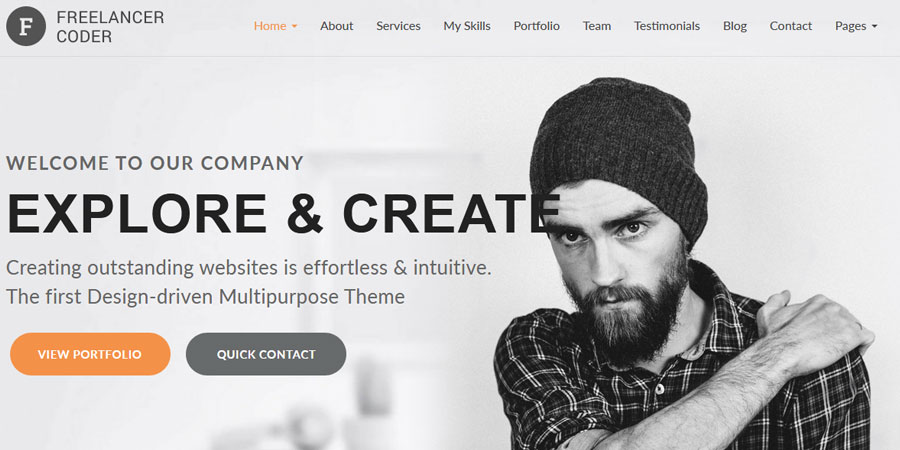 Freelancer Coder One Page Responsive Portfolio Template