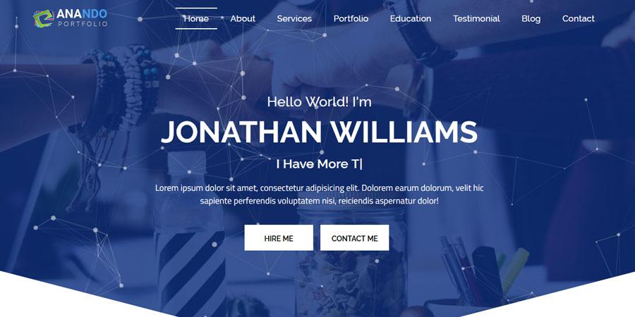 Anando One Page Personal Portfolio Template