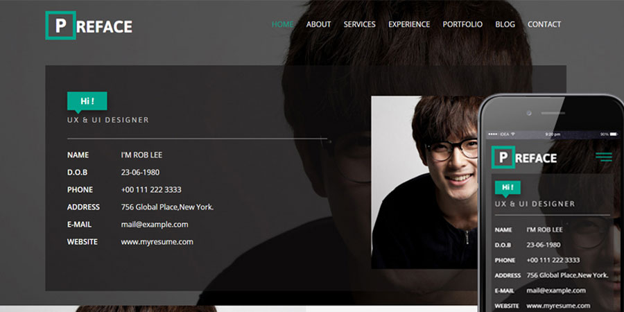 Preface Personal Bootstrap Responsive Web Template