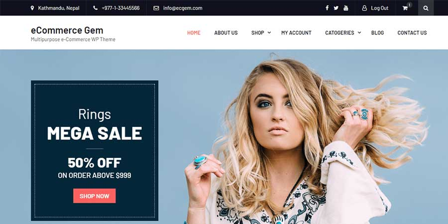 eCommerce Gem Free WordPress Theme
