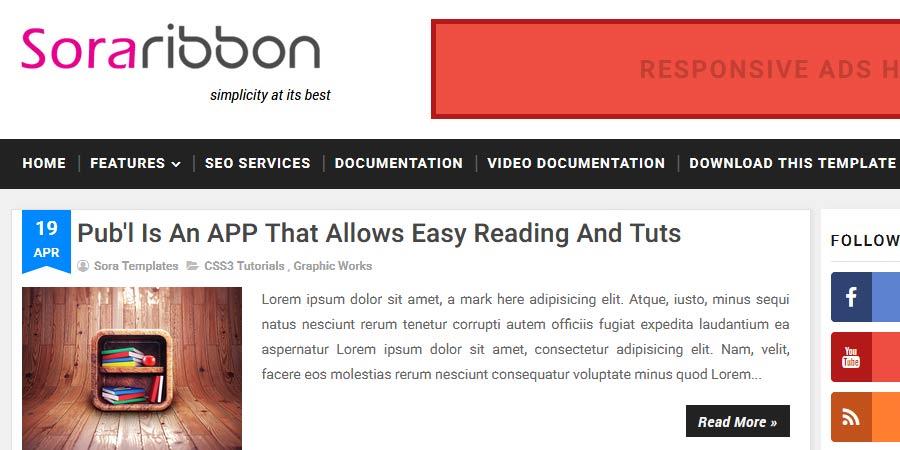 Sora Ribbon Responsive Blogger Template