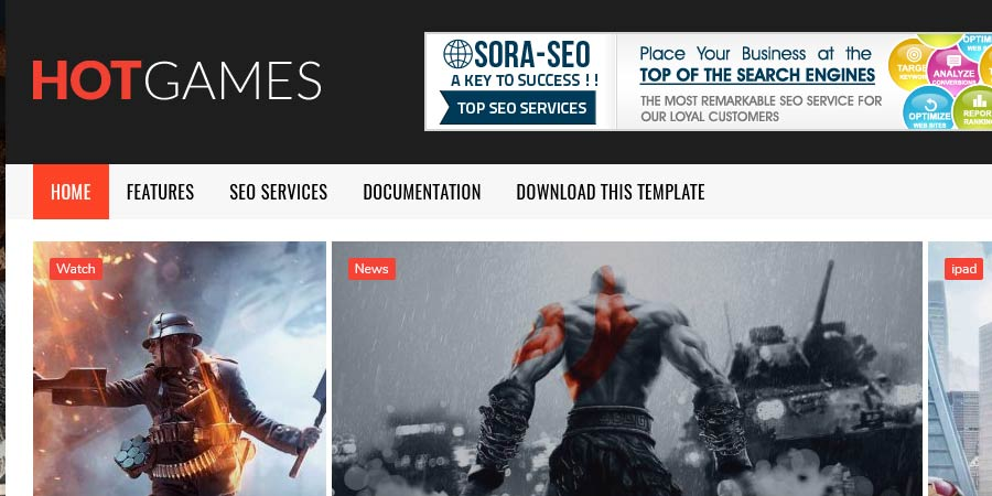 Hot Games Gaming Responsive Blogger Template