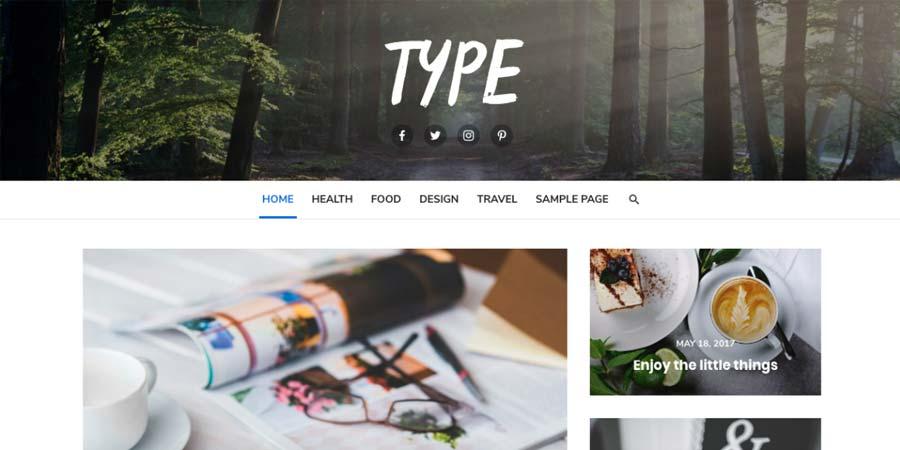 Type magazine style WordPress Theme