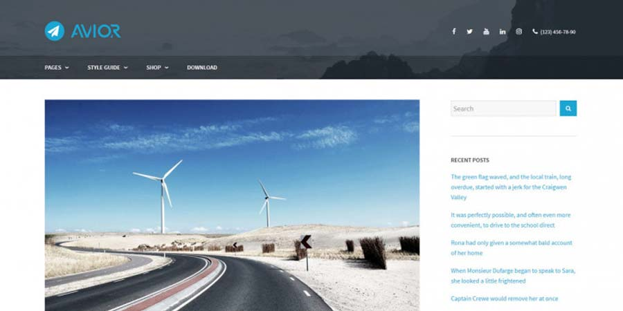Avior WordPress Blogging Theme