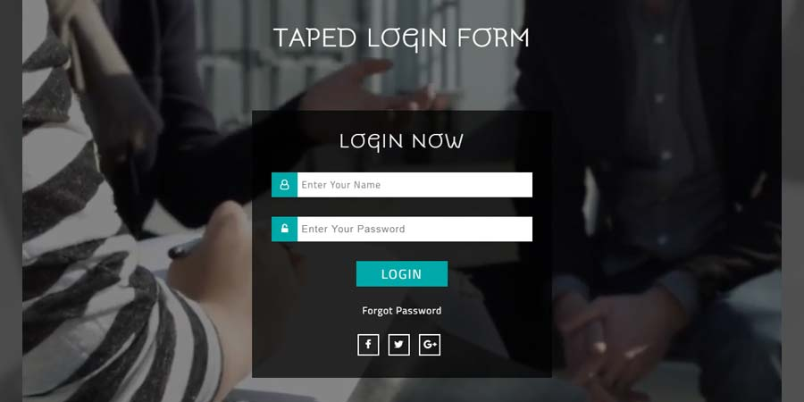 Taped Login Form