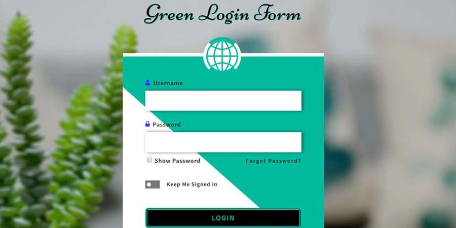 Green Login Form