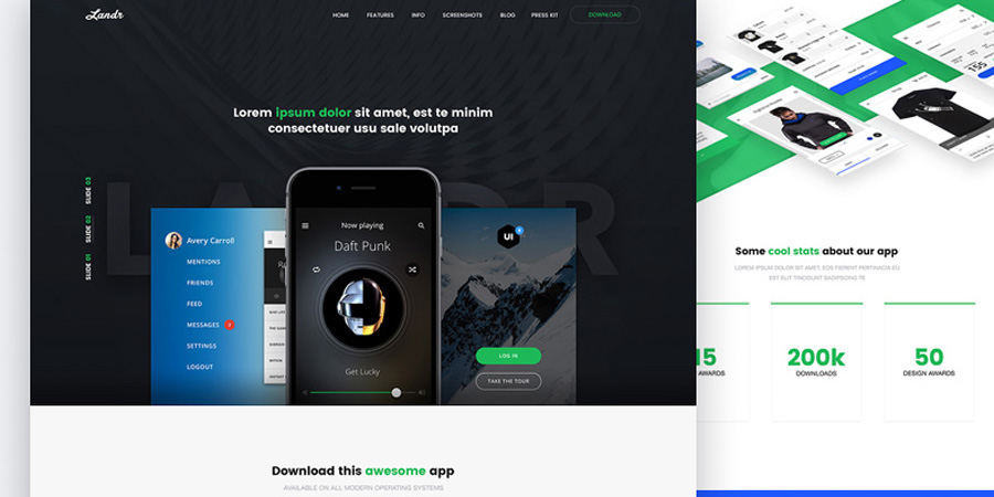 Landr Web & Mobile Template