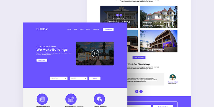 Real Estate PSD Website Template