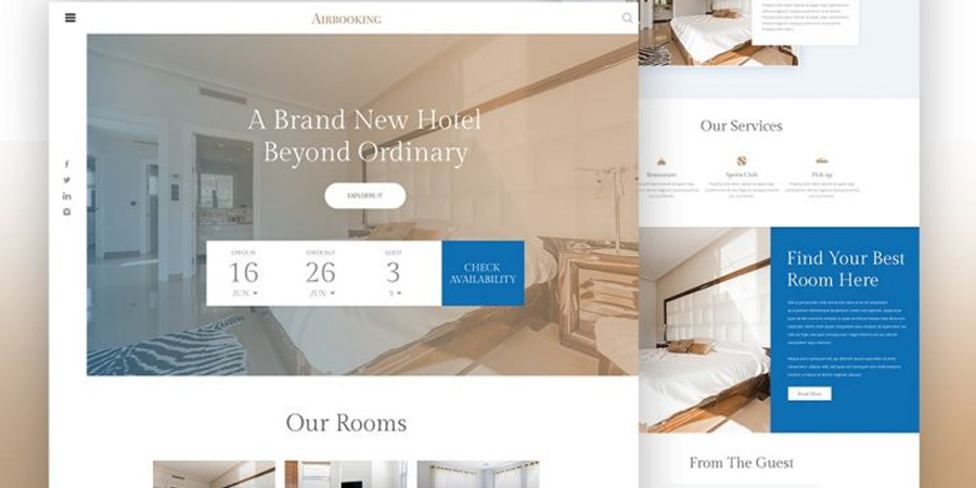 Hotel Booking Website PSD Template