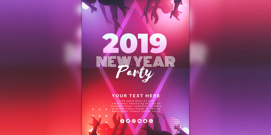 New Year Christmas Party Poster Mockup