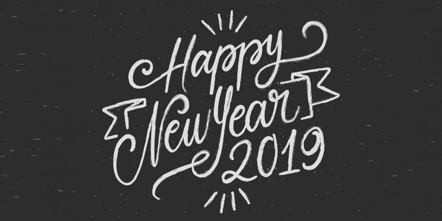 Happy New Year 2019 Black and White Background