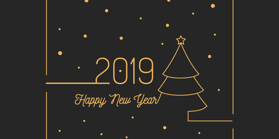 Happy New Year 2019 Free Vector