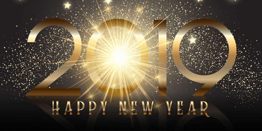 Gold New Year Background with Sparkle Effect