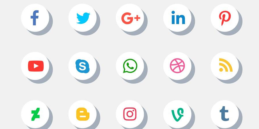 Social Media Icons Set With Shadow