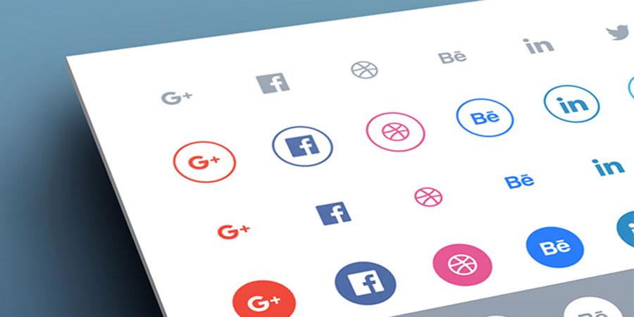Social flat icons set